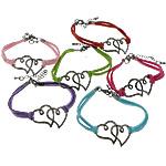 Velvet Bracelets Fashion Cord, Alloy zink, Zemra Flat, plumbit ngjyrë të zezë praruar, ngjyra të përziera, , nikel çojë \x26amp; kadmium falas, 35x25x2mm, 2.5mm, :7Inç, 50Fillesat/Shumë,  Shumë