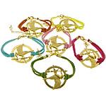 Velvet Bracelets Fashion Cord, Alloy zink, Round Flat, ngjyrë ari praruar, ngjyra të përziera, , nikel çojë \x26amp; kadmium falas, 38x36x2mm, 2.5mm, :7Inç, 50Fillesat/Shumë,  Shumë