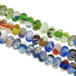 Goldsand & Silberfolie Lampwork Perlen, Rondell, handgemacht, Goldsand und Silberfolie, gemischte Farben, 8x4.5mm, Bohrung:ca. 1-1.5mm, Länge:ca. 15.5 ZollInch, ca. 20SträngeStrang/Tasche, verkauft von Tasche