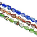 Goldsand & Silberfolie Lampwork Perlen, Tropfen, handgemacht, Goldsand und Silberfolie, gemischte Farben, 7.5x10mm, Bohrung:ca. 1-1.5mm, Länge:ca. 15.3 ZollInch, ca. 20SträngeStrang/Tasche, verkauft von Tasche
