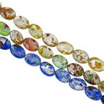 Goldsand & Silberfolie Lampwork Perlen, flachoval, handgemacht, Goldsand und Silberfolie, gemischte Farben, 10x14x5mm, Bohrung:ca. 1-1.5mm, Länge:ca. 15.3 ZollInch, ca. 20SträngeStrang/Tasche, verkauft von Tasche