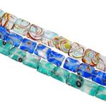 Petë Silver Beads Lampwork, Shape përziera, punuar me dorë, petë argjendi, ngjyra të përziera, 10-12mm, : 1-1.5mm, : 15.7Inç, 20Fillesat/Qese,  Qese