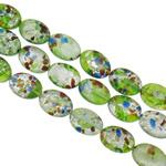 Goldsand & Silberfolie Lampwork Perlen, flachoval, handgemacht, Goldsand und Silberfolie, gemischte Farben, 13x18x6.50mm, Bohrung:ca. 1-1.5mm, Länge:ca. 15.3 ZollInch, ca. 20SträngeStrang/Tasche, verkauft von Tasche