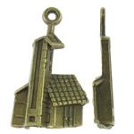Ndërtimi Pendants Zink Alloy, Alloy zink, Ngjyra antike bronz i praruar, asnjë, asnjë, , nikel çojë \x26amp; kadmium falas, 17x29x4.50mm, : 2mm, 625PC/KG,  KG