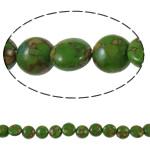 Bruz Beads, Bruz Mozaiku, Monedhë, sintetik, asnjë, e gjelbër, 12x7mm, : 1mm, :15.7Inç, 10Fillesat/Qese,  Qese