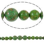 Bruz Beads, Bruz Mozaiku, Round, sintetik, asnjë, e gjelbër, 10-22mm, : 1mm, :15.7Inç, 10Fillesat/Qese,  Qese