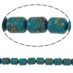 Bruz Beads, Bruz Mozaiku, Kolonë, sintetik, asnjë, blu, 12x14mm, : 1mm, :15.7Inç, 10Fillesat/Qese,  Qese