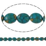 Bruz Beads, Bruz Mozaiku, Oval Flat, sintetik, asnjë, blu, 10x14x6mm, : 1mm, :15.7Inç, 10Fillesat/Qese,  Qese
