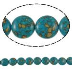Bruz Beads, Bruz Mozaiku, Round Flat, sintetik, asnjë, blu, 20x8mm, : 1mm, :15.7Inç, 10Fillesat/Qese,  Qese