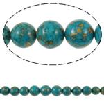 Bruz Beads, Bruz Mozaiku, Round, sintetik, asnjë, blu, 10-22mm, : 1mm, :15.7Inç, 10Fillesat/Qese,  Qese