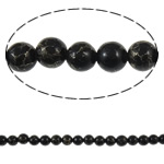 Bruz Beads, Bruz Gold venë, Round, sintetik, asnjë, e zezë, 8mm, : 1mm, :15.7Inç, 10Fillesat/Qese,  Qese