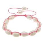 Ujërave të ëmbla Pearl Shamballa Bracelets, Pearl kulturuar ujërave të ëmbla, with Cord najlon, Shape Tjera, asnjë, asnjë, 11-13x9x9mm, :6-11Inç, 10Fillesat/Shumë,  Shumë