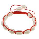 Ujërave të ëmbla Pearl Shamballa Bracelets, Pearl kulturuar ujërave të ëmbla, with Cord najlon, Shape Tjera, asnjë, asnjë, 10-13x9x9mm, :6-11Inç, 10Fillesat/Shumë,  Shumë