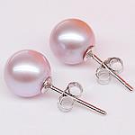 Një palë vathë Pearl ujërave të ëmbla, Pearl kulturuar ujërave të ëmbla, with 925 Sterling Silver, Round, natyror, vjollcë, 7.5-8mm,  Palë
