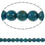 Bruz Beads, Bruz Gold venë, Round, sintetik, asnjë, blu, 10mm, : 1mm, : 15.7Inç, 10Fillesat/Qese,  Qese
