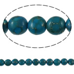 Bruz Beads, Bruz Gold venë, Round Flat, sintetik, asnjë, blu, 10x7mm, : 1mm, : 15.7Inç, 10Fillesat/Qese,  Qese