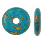 Bruz Beads, Bruz Mozaiku, Round Flat, sintetik, asnjë, blu, 30x7mm, : 7mm, 50PC/Qese,  Qese
