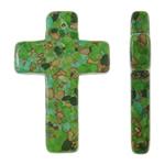 Varëse Bruz, Bruz Mozaiku, Kryq, sintetik, asnjë, e gjelbër, 40x58x8mm, : 2mm, 50PC/Qese,  Qese
