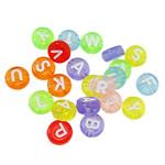 Beads transparente akrilik, Round Flat, asnjë, i tejdukshëm, ngjyra të përziera, 7x3.5mm, : 1.5mm, 620PC/Qese,  Qese