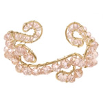 Bracelets Crystal, Kristal, with Hekur, Rondelle, ngjyrë ari praruar, faceted, Vintage Rose, 6x4mm, 20mm, :6.5Inç, 20PC/Shumë,  Shumë