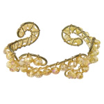 Bracelets Crystal, Kristal, with Hekur, Rondelle, ngjyrë ari praruar, faceted, Lt Colorado topaz, 6x4mm, 20mm, :6.5Inç, 20PC/Shumë,  Shumë