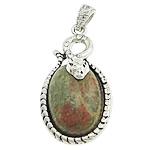 Pendants gur i çmuar bizhuteri, Unakite, with Tunxh, Oval Flat, me diamant i rremë, 24.50x39x10mm, : 4x6mm, 20PC/Shumë,  Shumë