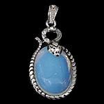 Deti Pendants opal, Deti Opal, with Tunxh, Oval Flat, ngjyrë platin praruar, me diamant i rremë, asnjë, 24.50x39x10mm, : 4x6mm, 20PC/Shumë,  Shumë