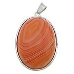 Pendants Red agat, with Lidhëse & Tunxh, Oval Flat, ngjyrë platin praruar, asnjë, 24x32x8mm, : 4x5mm, 20PC/Shumë,  Shumë