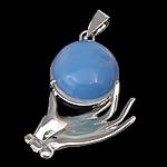 Deti Pendants opal, Deti Opal, with Tunxh, Dorë, ngjyrë platin praruar, asnjë, asnjë, 30x35x11mm, : 4x5mm, 20PC/Shumë,  Shumë
