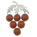 Pendants gur i çmuar bizhuteri, Red Jasper, with Tunxh, Hardhi, ngjyrë platin praruar, asnjë, 36x56x5mm, : approx 10x4mm, 20PC/Shumë,  Shumë