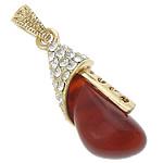 Pendants Red agat, with Tunxh, Lot, ngjyrë ari praruar, me diamant i rremë, 14x37x10mm, : 4x6mm, 20PC/Shumë,  Shumë