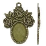 Zink-Legierung Cabochon Weissgold, Zinklegierung, flachoval, antike Bronzefarbe plattiert, frei von Nickel, Blei & Kadmium, 24x32.50x2.50mm, Bohrung:ca. 2mm, ca. 250PCs/kg, verkauft von kg