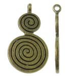 Zink-Aluminium-Anhänger, Zinklegierung, Kalebasse, antike Bronzefarbe plattiert, frei von Nickel, Blei & Kadmium, 14x26.50x3.50mm, Bohrung:ca. 1.5mm, ca. 580PCs/kg, verkauft von kg