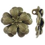 Pendants Zink Alloy Leaf, Alloy zink, Lule, Ngjyra antike bronz i praruar, layered, asnjë, , nikel çojë \x26amp; kadmium falas, 35.50x34.50x11.50mm, : 2.5mm, 20PC/Qese,  Qese