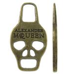 Pendants Skull Alloy zink, Kafkë, Ngjyra antike bronz i praruar, asnjë, asnjë, , nikel çojë \x26amp; kadmium falas, 16x30x2mm, : 5x7.5mm, 380PC/KG,  KG