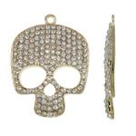 Pendants Skull Alloy zink, Kafkë, ngjyrë ari praruar, me diamant i rremë, asnjë, , nikel çojë \x26amp; kadmium falas, 39.50x53.50x5mm, : 3mm, 10PC/Qese,  Qese