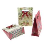 Moda qese dhuratë, Letër, with Saten Ribbon, Shape Tjera, asnjë, asnjë, ngjyra të përziera, 125x166x60mm, 120PC/Qese,  Qese