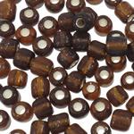 Silver Beads rreshtuar qelqi farë, Seed Glass Beads, Round, argjend-rreshtuan, asnjë, ngjyrë kafe, 3x3.6mm, : 1.5mm, 5000PC/Qese,  Qese