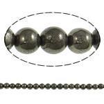 Chalkopyrit Perle, rund, natürlich, 6mm, Bohrung:ca. 2mm, Länge:ca. 15.7 ZollInch, 20SträngeStrang/Menge, verkauft von Menge