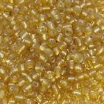 Silver Beads rreshtuar qelqi farë, Seed Glass Beads, Round, argjend-rreshtuan, asnjë, i verdhë, 2x3mm, : 1mm, 15000PC/Qese,  Qese