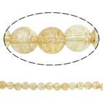 Kërcitje Beads kuarc, Beads citrine, Round, asnjë, 14mm, : 1mm, : 15.7Inç, 20Fillesat/Shumë,  Shumë