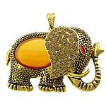 Pendants Red agat, with Alloy zink, Elefant, ngjyrë ari praruar, smalt & me diamant i rremë, 62x49x20mm, : 4x8mm, 10PC/Shumë,  Shumë