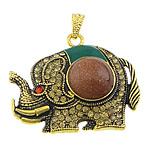 Pendants Goldstone, with Alloy zink, Elefant, ngjyrë ari praruar, smalt & me diamant i rremë, 46x38x10mm, : 4x7mm, 20PC/Shumë,  Shumë