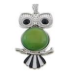 E gjelbër varëse agat, Jeshile agat, Buf, ngjyrë platin praruar, smalt & me diamant i rremë, 27x49x9mm, : 4x7mm, 20PC/Shumë,  Shumë