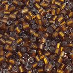 Silver Beads rreshtuar qelqi farë, Seed Glass Beads, Tub, argjend-rreshtuan, asnjë, ngjyrë kafe, 2x2mm, : 1mm, 30000PC/Qese,  Qese