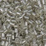 Silver Beads rreshtuar qelqi farë, Seed Glass Beads, Tub, argjend-rreshtuan, asnjë, qartë, 2.5x3mm, : 1mm, 10000PC/Qese,  Qese