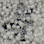 Ngjyra rreshtuar Farë Glass Beads, Seed Glass Beads, Round, famë, asnjë, e bardhë, 2x1.9mm, : 1mm, 30000PC/Qese,  Qese