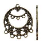 Zink Alloy Connector Setting, Alloy zink, Round Flat, Ngjyra antike bronz i praruar, 1/5 loop, asnjë, , nikel çojë \x26amp; kadmium falas, 25.50x31.50x1.50mm, : 2mm, 200PC/Qese,  Qese