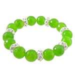 Gemstone Bracelets, Green, elastic thread with dyed marble beads & rhinestone zinc alloy beads, silver color plated, 11x6mm, 12.5mm, Sold per approx 8 Inch Strand