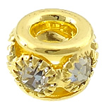 Beads bizhuteri bronzi, Tunxh, Daulle, ngjyrë ari praruar, me diamant i rremë & vrimë e madhe, asnjë, , nikel çojë \x26amp; kadmium falas, 11x7mm, : 5mm, 100PC/Shumë,  Shumë